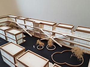 Architekturmodell für ein Studentenwohnheim